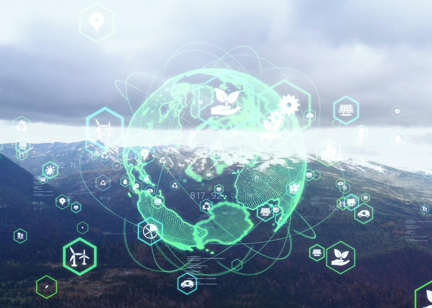 Ilustração de planeta verde numa fotografia de uma paisagem