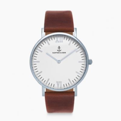 relógio branco e castanho