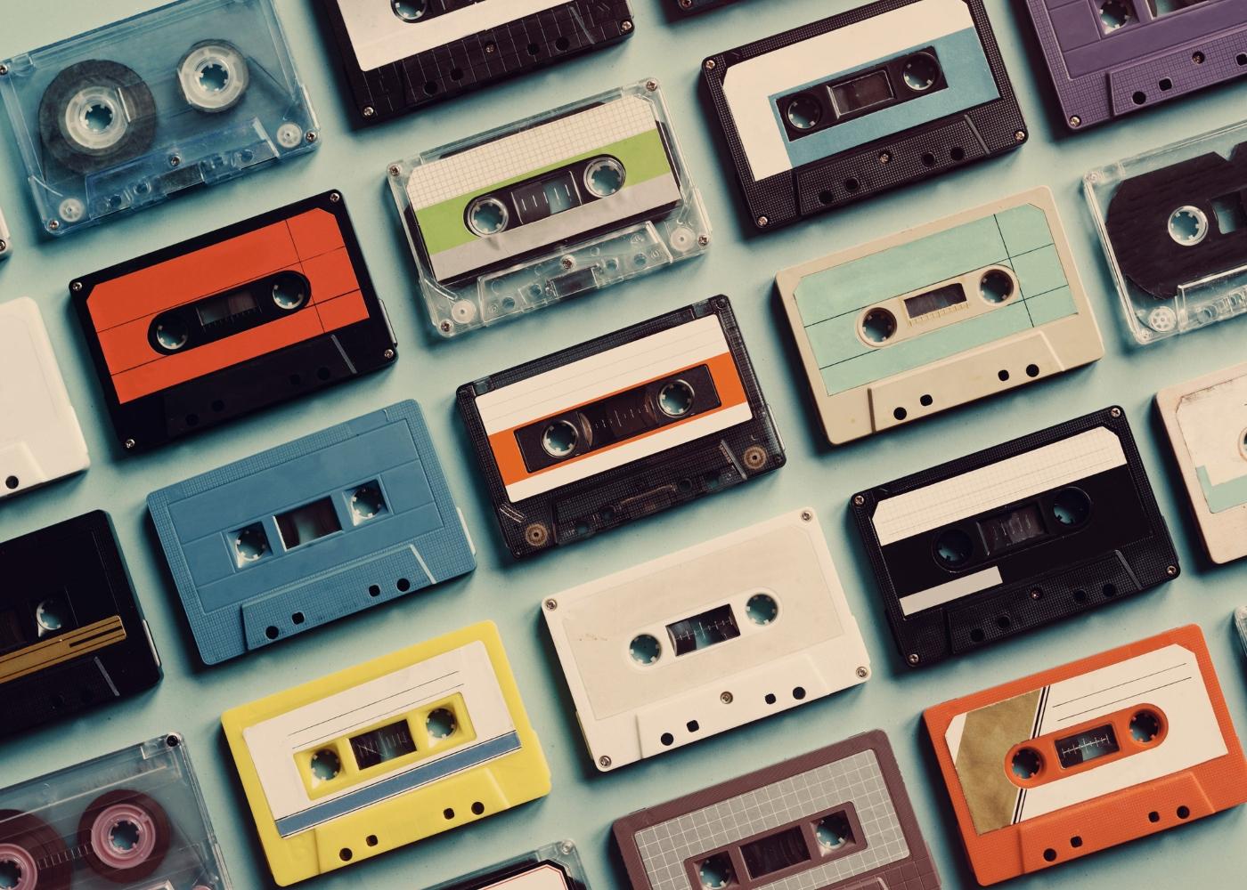 várias cassetes vintage