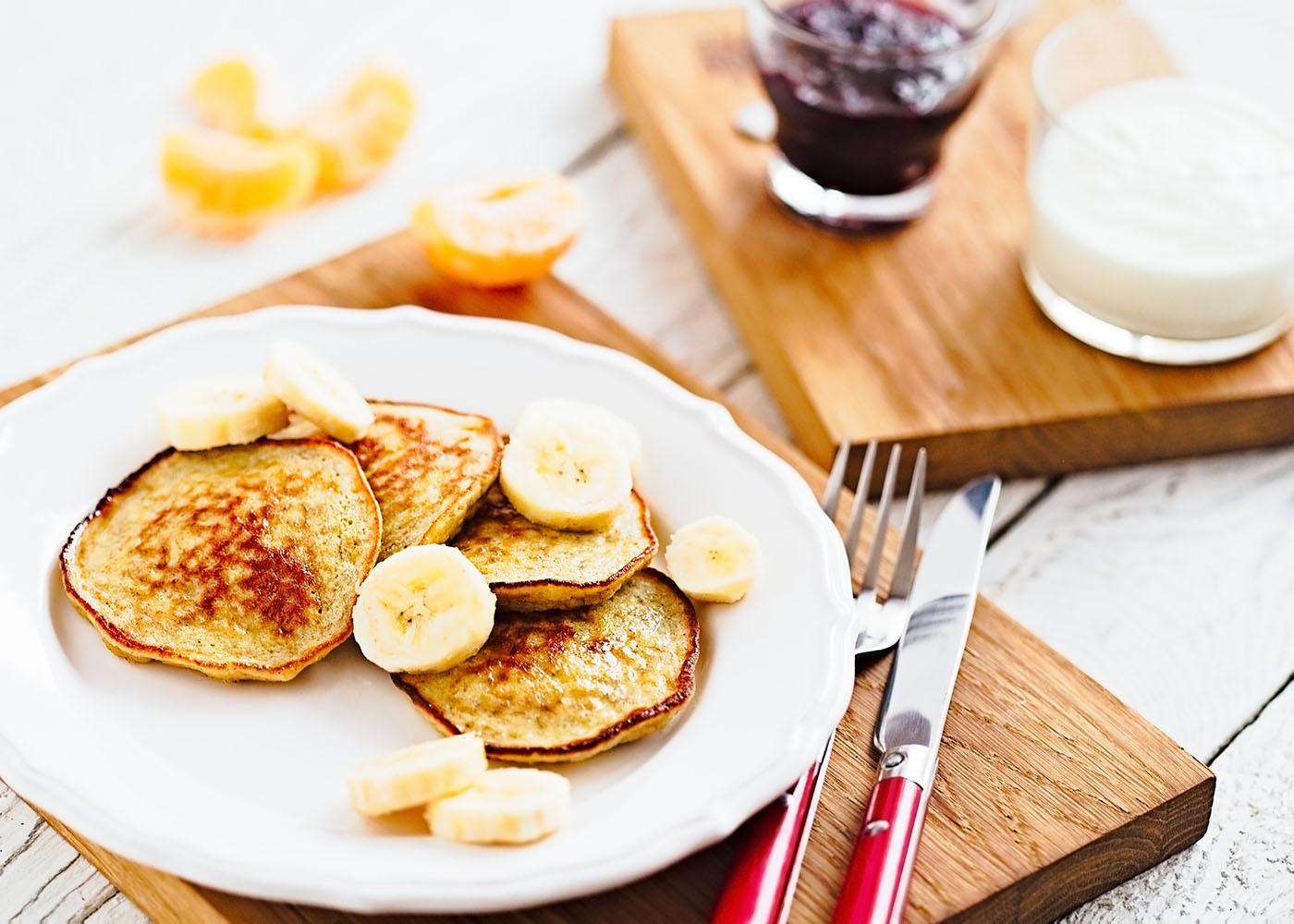 Panquecas de banana e iogurte
