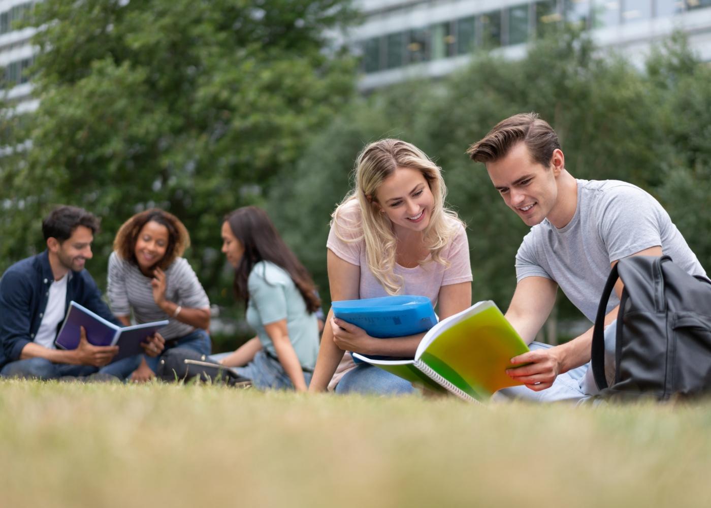 Estudantes universitários a conversar nos jardins da Faculdade