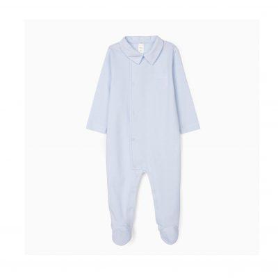 Babygrow azul para a mala da maternidade
