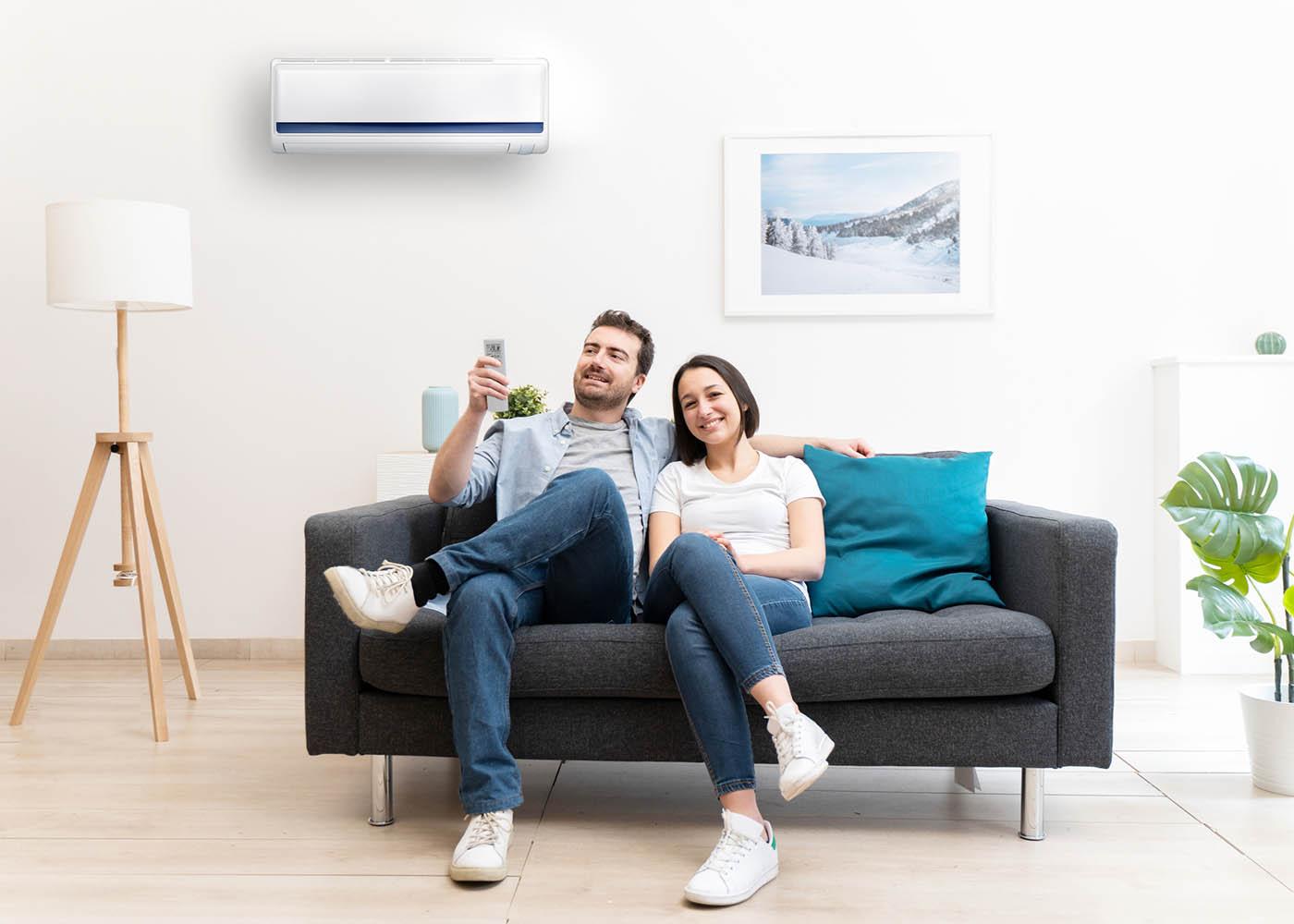 casal ligar ar condicionado