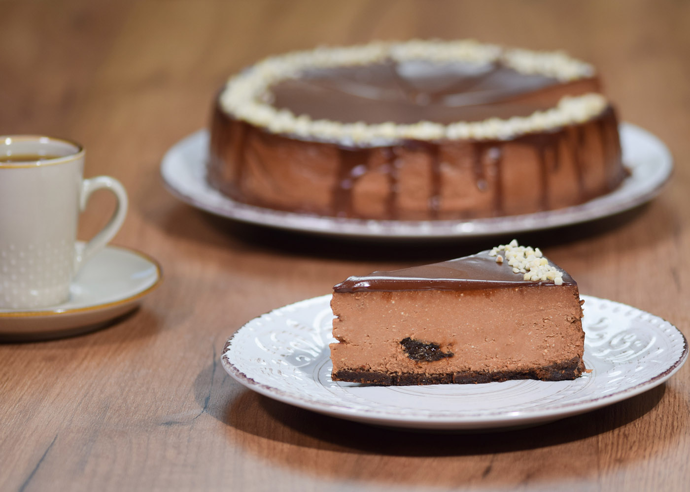 Cheesecake de manteiga de amendoim com chocolate