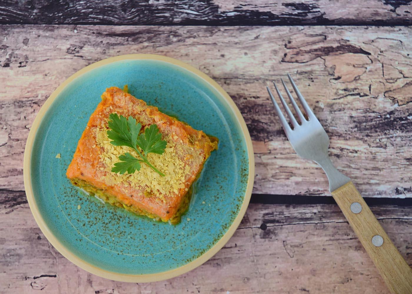 Empadão de batata-doce com atum e espinafres